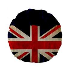 Flag Of Britain Grunge Union Jack Flag Background Standard 15  Premium Flano Round Cushions