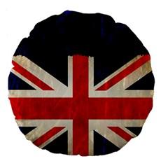 Flag Of Britain Grunge Union Jack Flag Background Large 18  Premium Flano Round Cushions