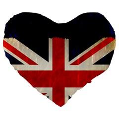 Flag Of Britain Grunge Union Jack Flag Background Large 19  Premium Flano Heart Shape Cushions
