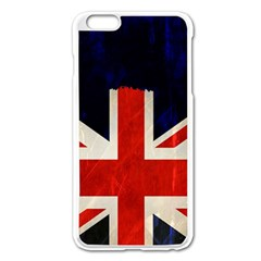 Flag Of Britain Grunge Union Jack Flag Background Apple iPhone 6 Plus/6S Plus Enamel White Case