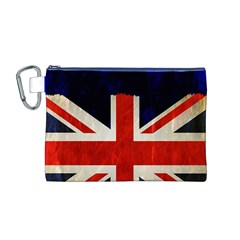 Flag Of Britain Grunge Union Jack Flag Background Canvas Cosmetic Bag (m)