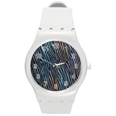 Abstract Background Wallpaper Round Plastic Sport Watch (M)