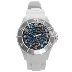 Abstract Background Wallpaper Round Plastic Sport Watch (l)