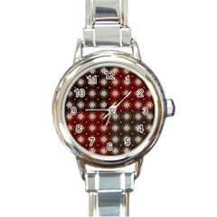 Decorative Pattern With Flowers Digital Computer Graphic Round Italian Charm Watch
