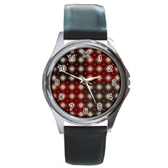 Decorative Pattern With Flowers Digital Computer Graphic Round Metal Watch