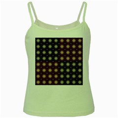 Decorative Pattern With Flowers Digital Computer Graphic Green Spaghetti Tank