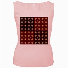 Decorative Pattern With Flowers Digital Computer Graphic Women s Pink Tank Top