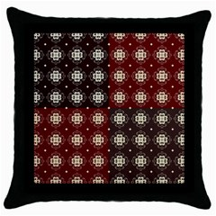 Decorative Pattern With Flowers Digital Computer Graphic Throw Pillow Case (Black)