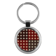 Decorative Pattern With Flowers Digital Computer Graphic Key Chains (Round)