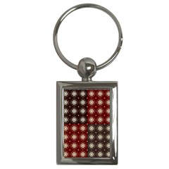 Decorative Pattern With Flowers Digital Computer Graphic Key Chains (Rectangle)