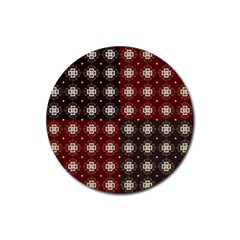 Decorative Pattern With Flowers Digital Computer Graphic Rubber Coaster (round)