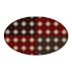 Decorative Pattern With Flowers Digital Computer Graphic Oval Magnet