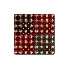 Decorative Pattern With Flowers Digital Computer Graphic Square Magnet