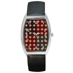 Decorative Pattern With Flowers Digital Computer Graphic Barrel Style Metal Watch
