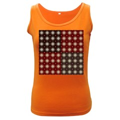 Decorative Pattern With Flowers Digital Computer Graphic Women s Dark Tank Top