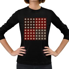 Decorative Pattern With Flowers Digital Computer Graphic Women s Long Sleeve Dark T-Shirts