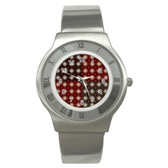 Decorative Pattern With Flowers Digital Computer Graphic Stainless Steel Watch