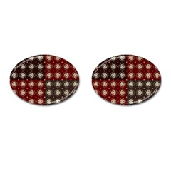 Decorative Pattern With Flowers Digital Computer Graphic Cufflinks (Oval)