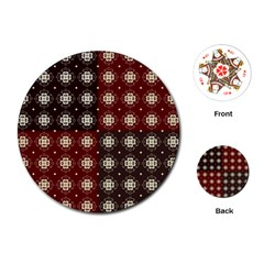 Decorative Pattern With Flowers Digital Computer Graphic Playing Cards (Round)