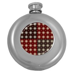 Decorative Pattern With Flowers Digital Computer Graphic Round Hip Flask (5 oz)