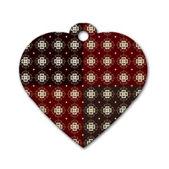Decorative Pattern With Flowers Digital Computer Graphic Dog Tag Heart (Two Sides)