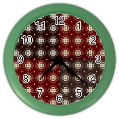 Decorative Pattern With Flowers Digital Computer Graphic Color Wall Clocks