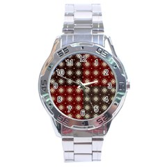 Decorative Pattern With Flowers Digital Computer Graphic Stainless Steel Analogue Watch
