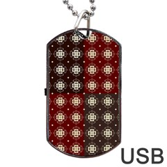 Decorative Pattern With Flowers Digital Computer Graphic Dog Tag USB Flash (Two Sides)