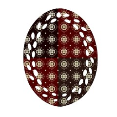 Decorative Pattern With Flowers Digital Computer Graphic Oval Filigree Ornament (two Sides)