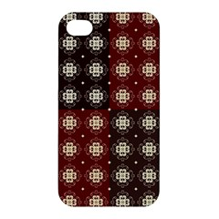 Decorative Pattern With Flowers Digital Computer Graphic Apple iPhone 4/4S Premium Hardshell Case