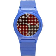 Decorative Pattern With Flowers Digital Computer Graphic Round Plastic Sport Watch (s)