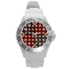 Decorative Pattern With Flowers Digital Computer Graphic Round Plastic Sport Watch (L)