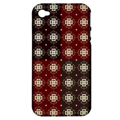 Decorative Pattern With Flowers Digital Computer Graphic Apple Iphone 4/4s Hardshell Case (pc+silicone)