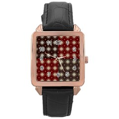 Decorative Pattern With Flowers Digital Computer Graphic Rose Gold Leather Watch