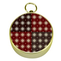 Decorative Pattern With Flowers Digital Computer Graphic Gold Compasses