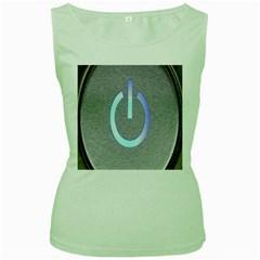 Close Up Of A Power Button Women s Green Tank Top