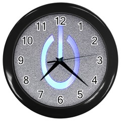Close Up Of A Power Button Wall Clocks (Black)