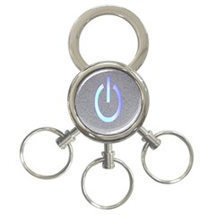 Close Up Of A Power Button 3-Ring Key Chains