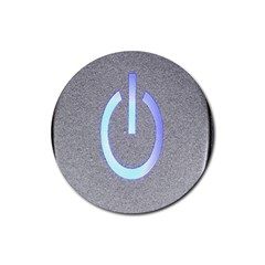 Close Up Of A Power Button Rubber Coaster (round)