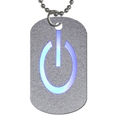 Close Up Of A Power Button Dog Tag (two Sides)