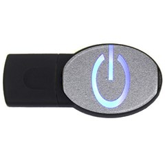 Close Up Of A Power Button USB Flash Drive Oval (2 GB)