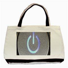 Close Up Of A Power Button Basic Tote Bag