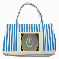 Close Up Of A Power Button Striped Blue Tote Bag