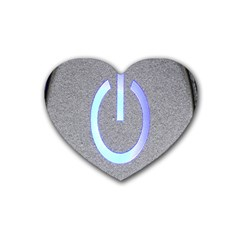 Close Up Of A Power Button Rubber Coaster (heart)