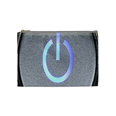 Close Up Of A Power Button Cosmetic Bag (medium)