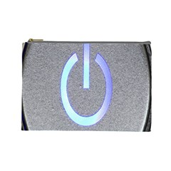 Close Up Of A Power Button Cosmetic Bag (Large)