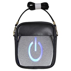 Close Up Of A Power Button Girls Sling Bags