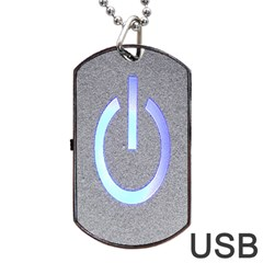 Close Up Of A Power Button Dog Tag USB Flash (Two Sides)