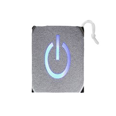 Close Up Of A Power Button Drawstring Pouches (small)