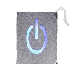 Close Up Of A Power Button Drawstring Pouches (large)